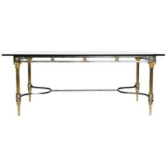 Maison Jansen Attributed Steel and Brass Dining Table