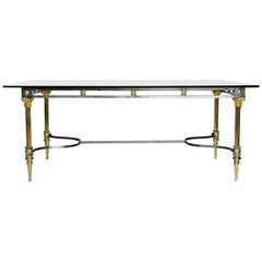 Maison Jansen Steel and Brass Dining Table