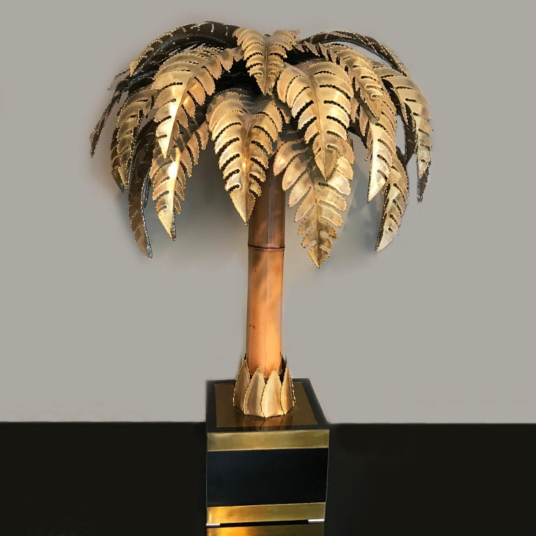 Hollywood Regency Maison Jansen Bamboo Palm Table Lamp France 1960s Set of 2 For Sale