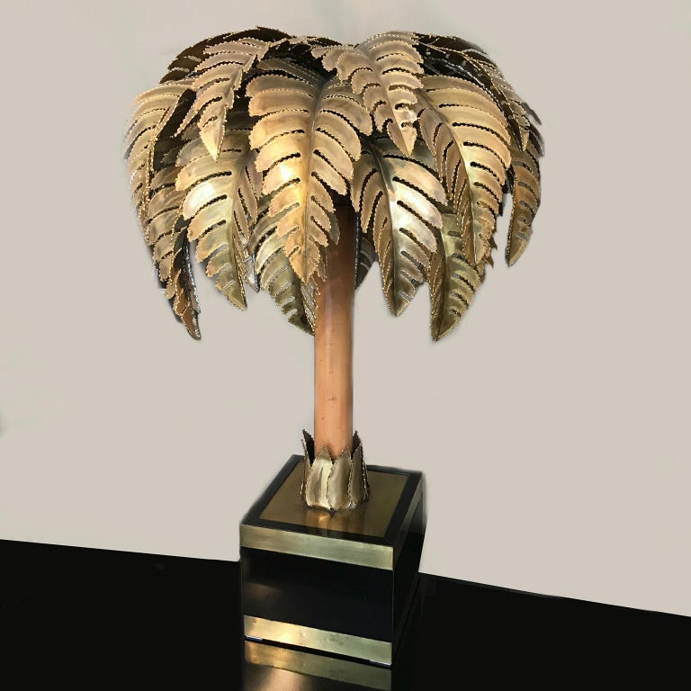French Maison Jansen Bamboo Palm Table Lamp France 1960s Set of 2 For Sale