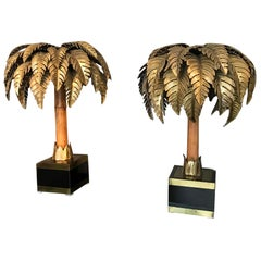 Maison Jansen Bamboo Palm Table Lamp France 1960s Set of 2