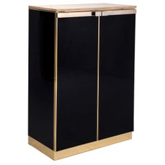 Maison Jansen Black and Brass Cabinet with Travertine Top