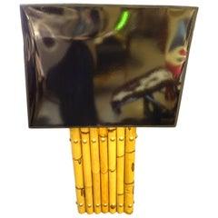 Maison Jansen Black Table Lamp Bamboo Bronce Black Patent Leather Screen
