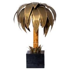 Maison Jansen Brass and Bamboo Palm Tree Lamp