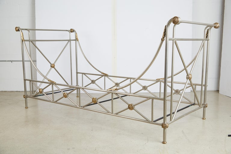 Maison Jansen Brass and Brushed Nickel Daybed, circa 1960s, Italy For Sale 11