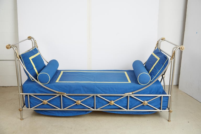 Maison Jansen Brass and Brushed Nickel Daybed, circa 1960s, Italy For Sale 12