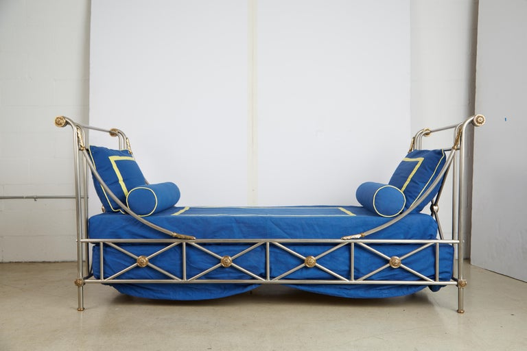Maison Jansen Brass and Brushed Nickel Daybed, circa 1960s, Italy For Sale 13