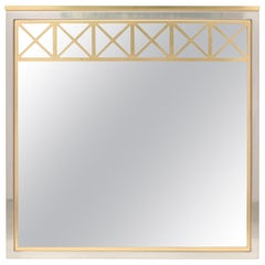 Maison Jansen Brass and Chrome Square Mirror