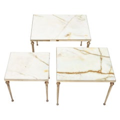 Maison Jansen Brass and Marble Nesting Tables, 1950s