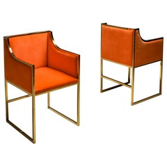 Maison Jansen Brass and Orange Velvet Chairs, Four Available