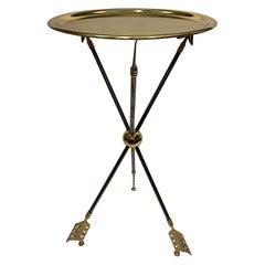 Maison Jansen Brass and Steel Arrow Motife Side End Table