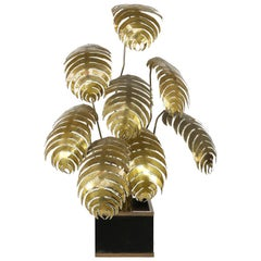 Maison Jansen Brass Flower Floor Lamp, France, 1970s