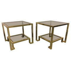 Maison Jansen Brass and Glass End Tables, France, 1970s
