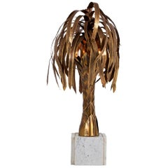 Maison Jansen Brass Palm Tree Lamp on White Marble Base