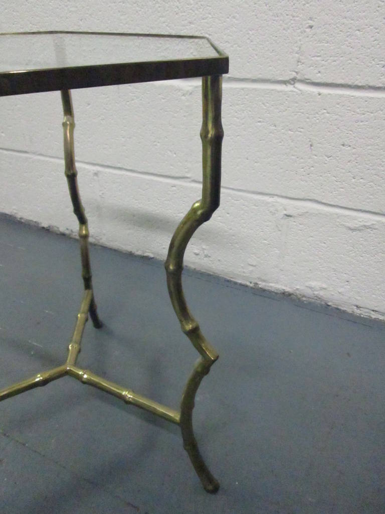 Directoire Maison Jansen Bronze Faux Bamboo Table For Sale