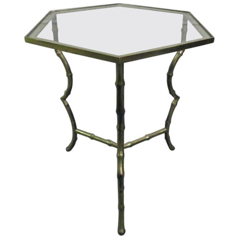 Maison Jansen Bronze Faux Bamboo Table For Sale