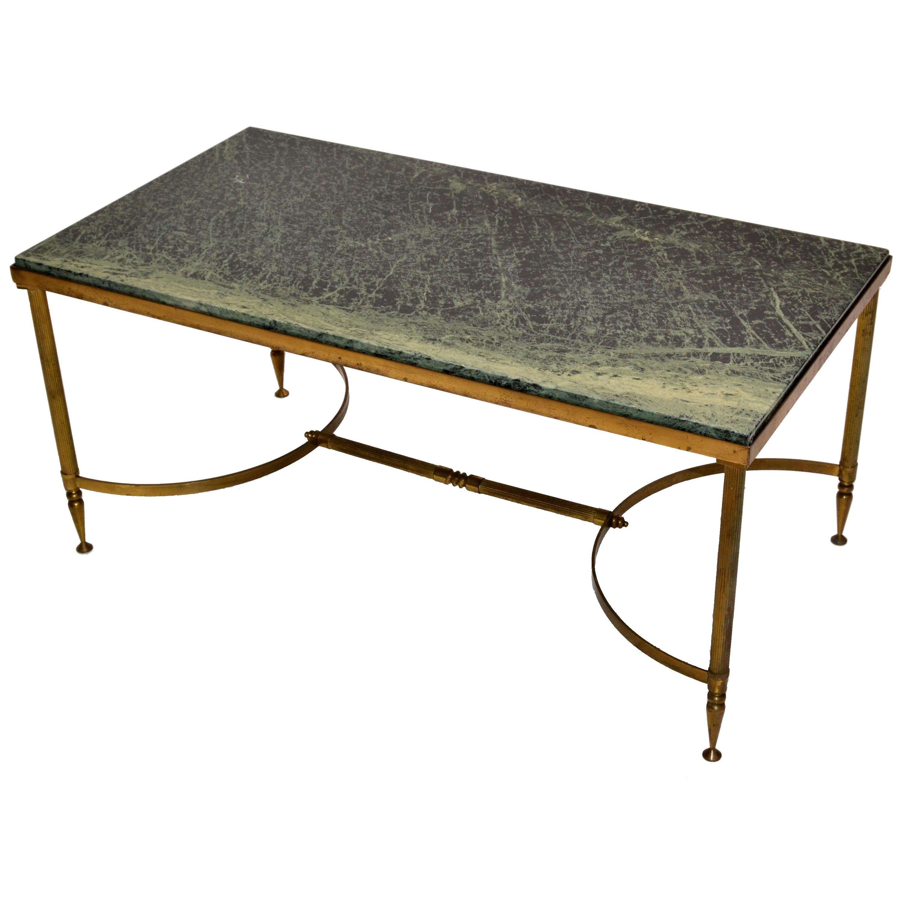 Maison Jansen Bronze Green Marble-Top Coffee Table French Neoclassical Late 1950