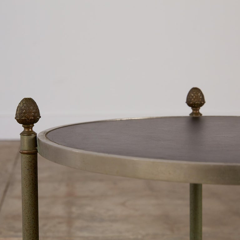 Maison Jansen Bronze Side Table with Leather Top For Sale 4