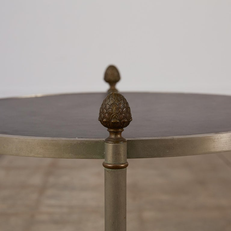 Maison Jansen Bronze Side Table with Leather Top For Sale 5
