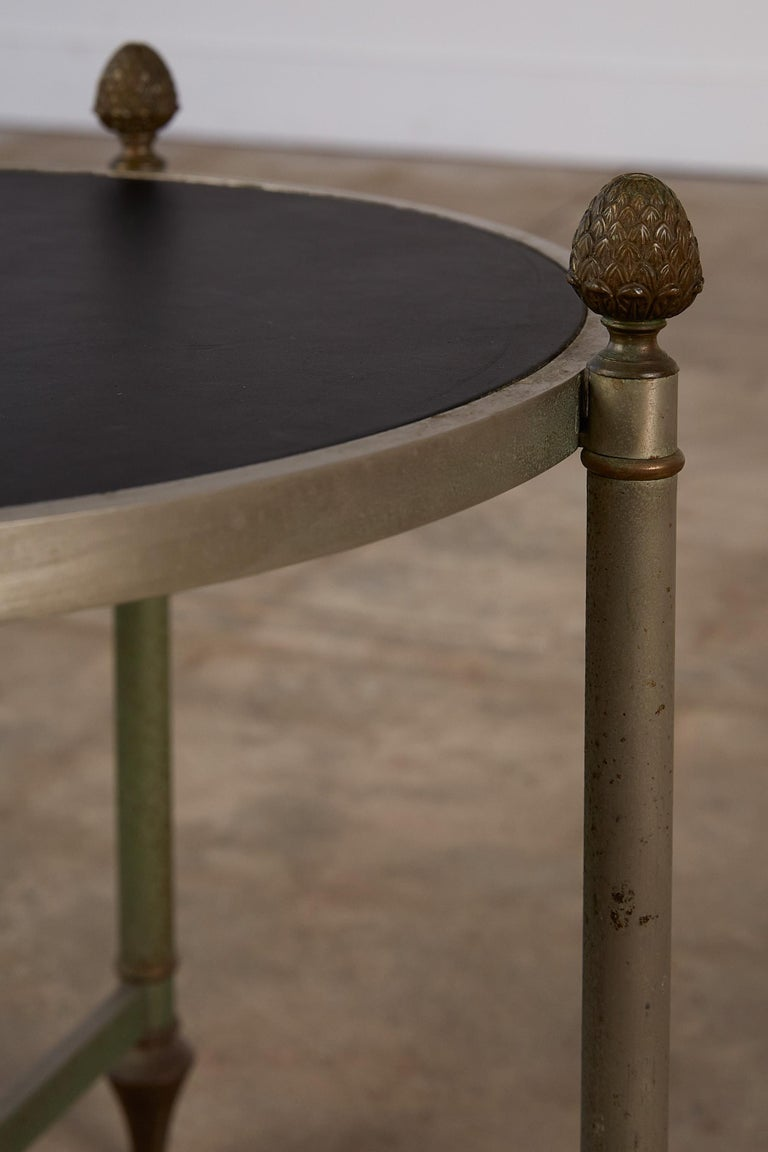 Maison Jansen Bronze Side Table with Leather Top For Sale 6