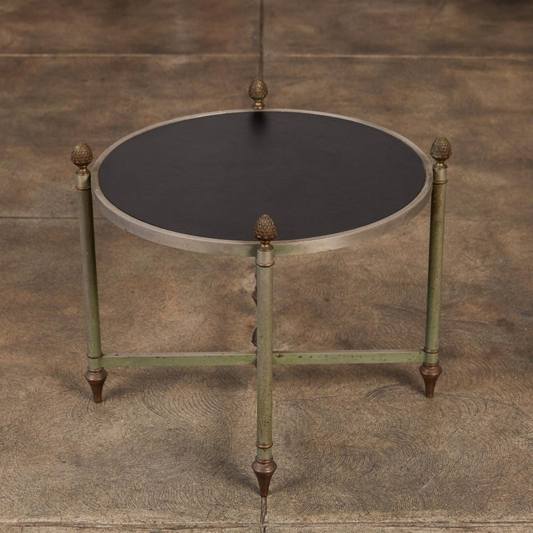 Patinated Maison Jansen Bronze Side Table with Leather Top For Sale