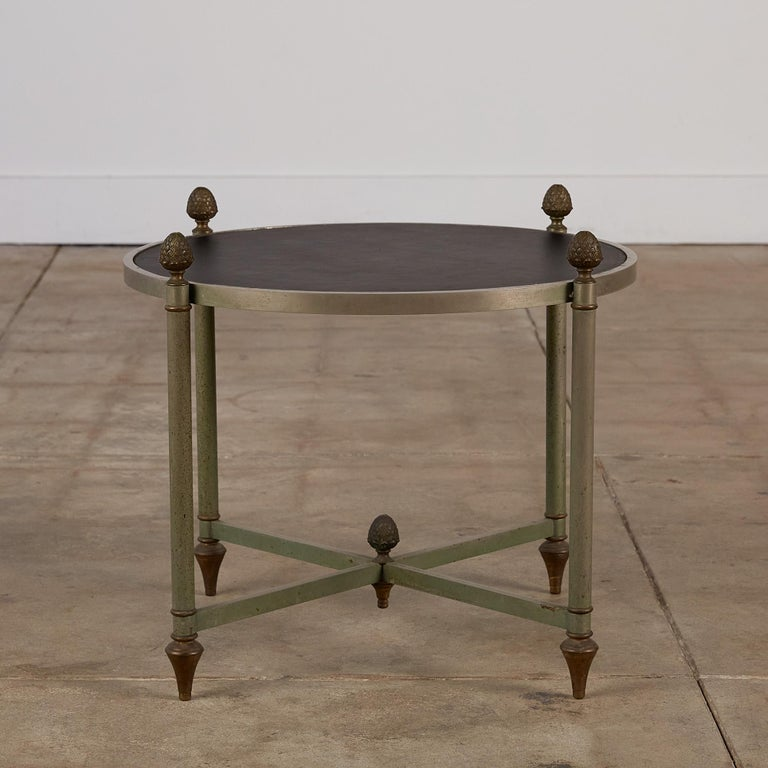 Mid-Century Modern Maison Jansen Bronze Side Table with Leather Top For Sale