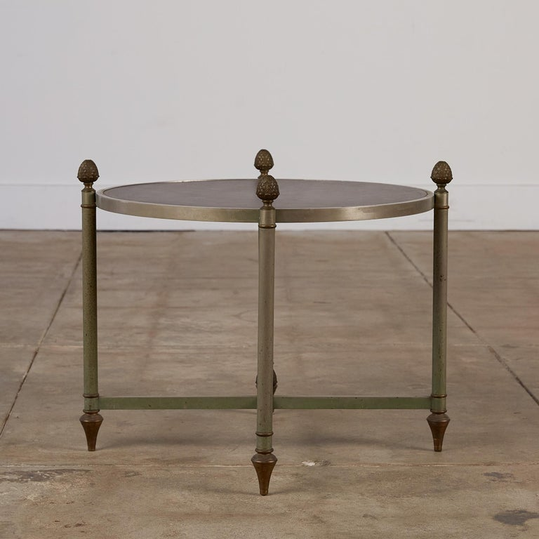 French Maison Jansen Bronze Side Table with Leather Top For Sale