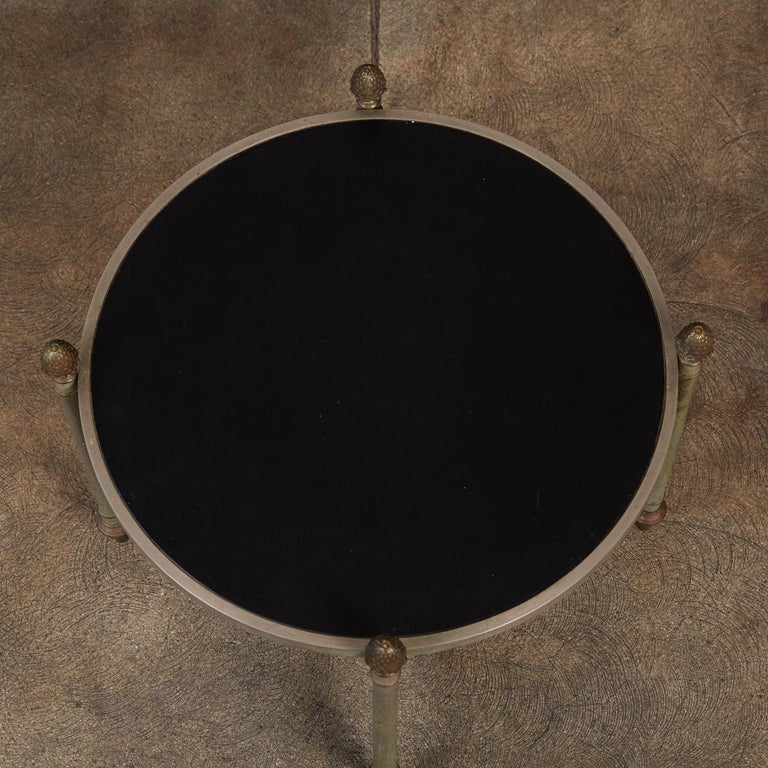 Maison Jansen Bronze Side Table with Leather Top For Sale 1