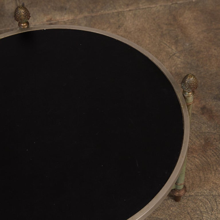 Maison Jansen Bronze Side Table with Leather Top For Sale 3