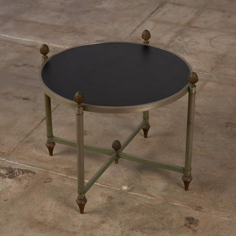 Maison Jansen Bronze Side Table with Leather Top In Excellent Condition For Sale In Los Angeles, CA
