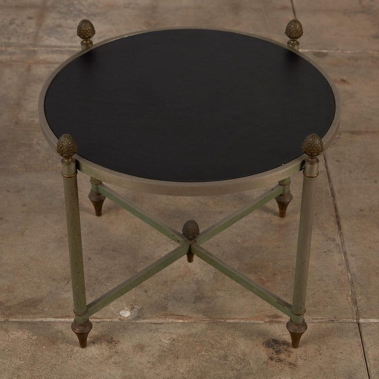 Mid-20th Century Maison Jansen Bronze Side Table with Leather Top For Sale