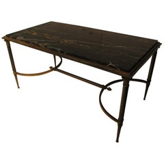 Maison Jansen Bronze & Steel Neoclassical Marble Top Cocktail Table