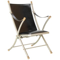 Maison Jansen Brushed Steel and Brass Campaign Armchair