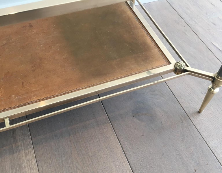 Maison Jansen Brushed Steel, Brass and Brown Leather Neoclassical Coffee Table For Sale 5