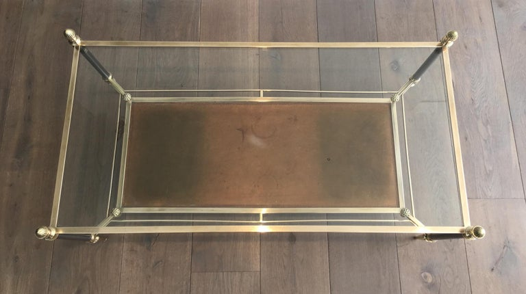 Maison Jansen Brushed Steel, Brass and Brown Leather Neoclassical Coffee Table For Sale 10