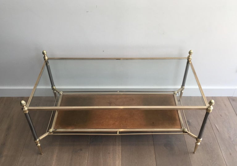 Maison Jansen Brushed Steel, Brass and Brown Leather Neoclassical Coffee Table For Sale 13