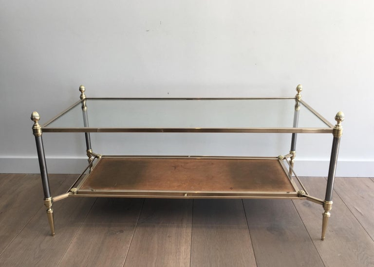 Maison Jansen Brushed Steel, Brass and Brown Leather Neoclassical Coffee Table For Sale 14