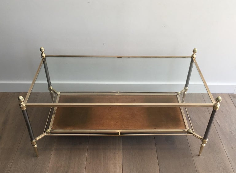 Maison Jansen Brushed Steel, Brass and Brown Leather Neoclassical Coffee Table For Sale 15