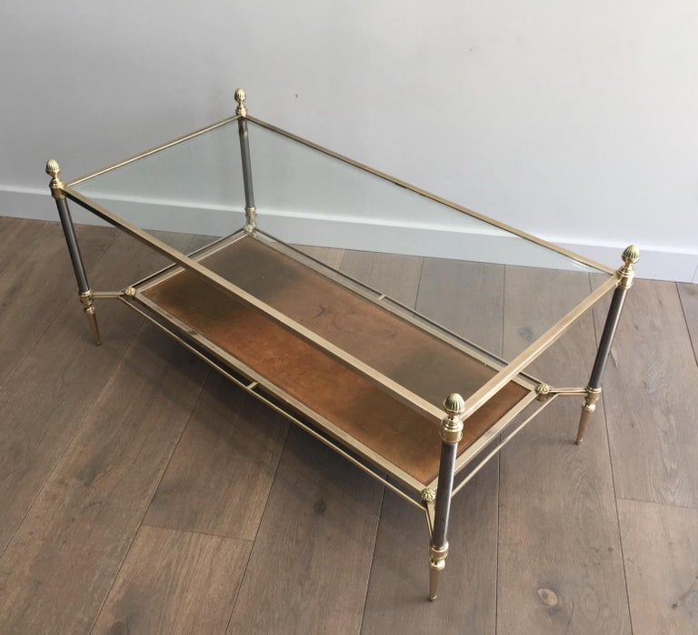 French Maison Jansen Brushed Steel, Brass and Brown Leather Neoclassical Coffee Table For Sale