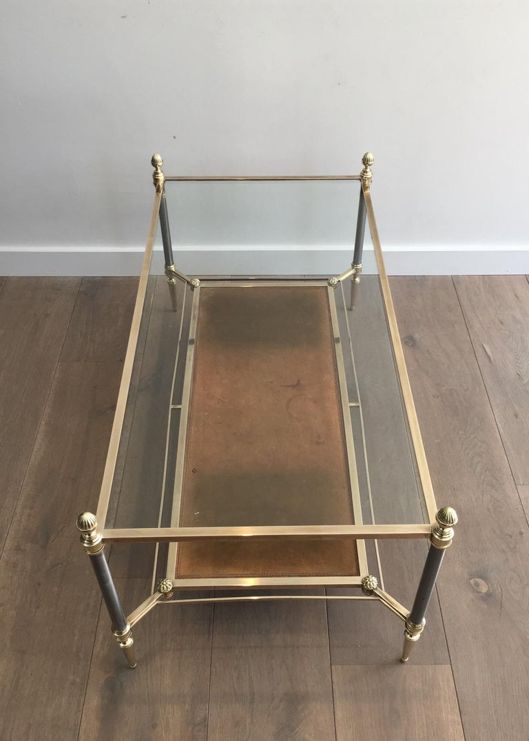 Maison Jansen Brushed Steel, Brass and Brown Leather Neoclassical Coffee Table In Good Condition For Sale In Marcq-en-Baroeul, FR