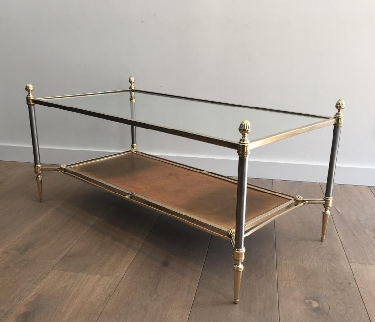 Mid-20th Century Maison Jansen Brushed Steel, Brass and Brown Leather Neoclassical Coffee Table For Sale
