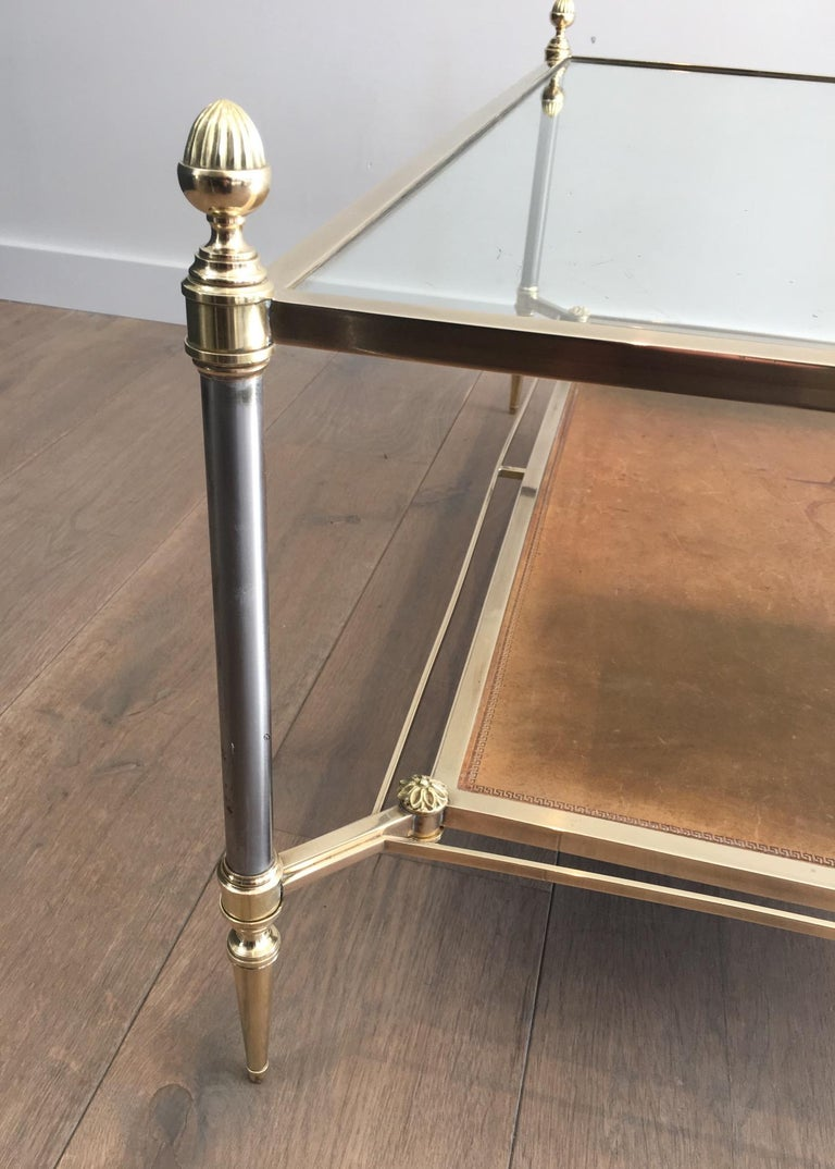 Maison Jansen Brushed Steel, Brass and Brown Leather Neoclassical Coffee Table For Sale 1