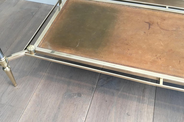 Maison Jansen Brushed Steel, Brass and Brown Leather Neoclassical Coffee Table For Sale 4