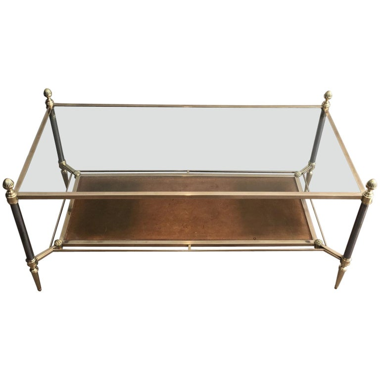 Maison Jansen Brushed Steel, Brass and Brown Leather Neoclassical Coffee Table For Sale