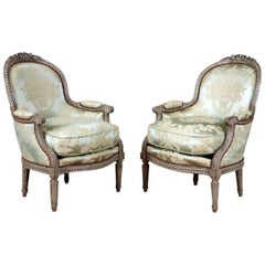 Maison Jansen Carved French Painted Bergere or Armchairs in Louis XVI Style