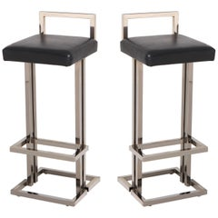 Maison Jansen Chrome and Black Leather Bar Stools
