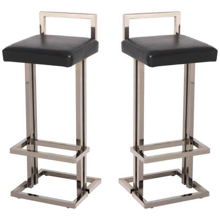 Surprising Maison Jansen Chrome And Black Leather Bar Stools Andrewgaddart Wooden Chair Designs For Living Room Andrewgaddartcom