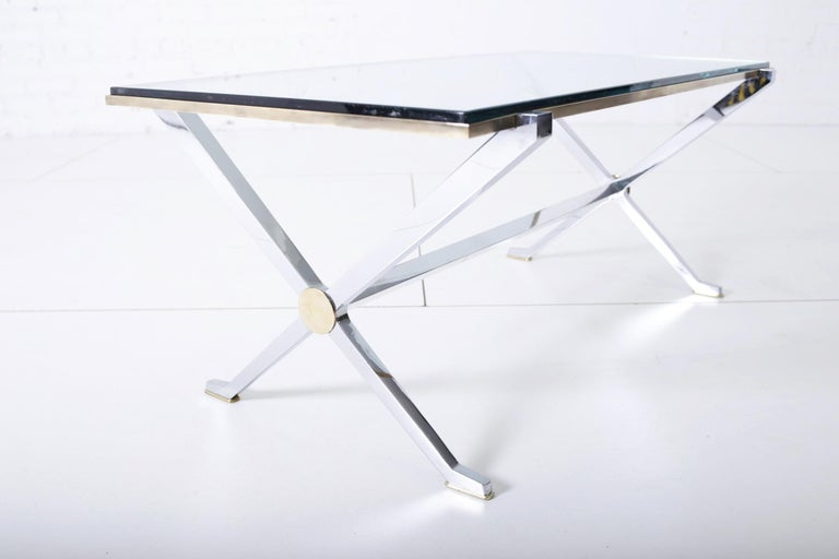 Mid-Century Modern Maison Jansen Chrome and Brass X Base Coffee Table For Sale
