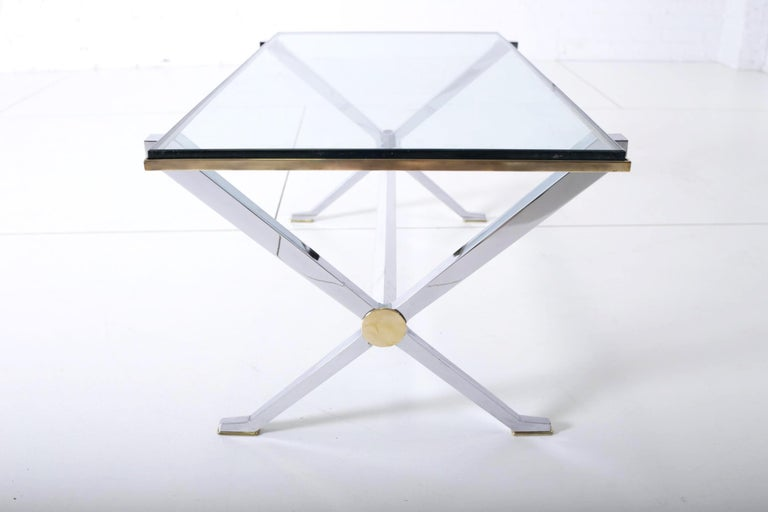 Italian Maison Jansen Chrome and Brass X Base Coffee Table For Sale