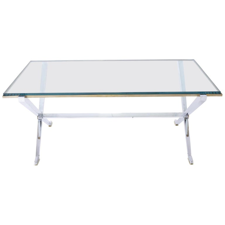 Maison Jansen Chrome and Brass X Base Coffee Table For Sale